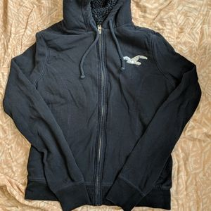 Hollister navy blue thick zip up hoodie